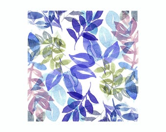 Leaves Print - Blue