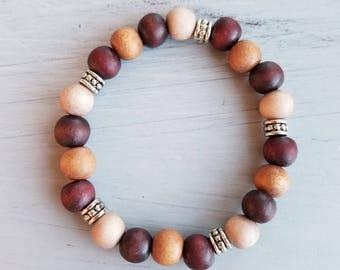Gorgeous handmade wood bead necklace