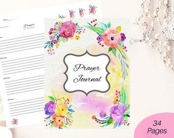 Prayer journal printable/ Bible journaling/ printable journal/ floral journal/ Christian journal/ Bible printable/ faith journal/ scripture