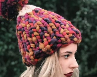 Super Chunky Hand Knit Hat w Huge Pom Pom