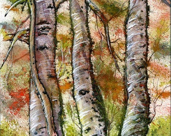 Print of Original abstract multimedia painting of autumn trees.
