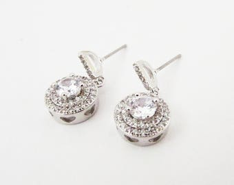 Cubic Zirconia Earrings, Earrings for Bride, Wedding Earrings, Silver Bridal Earrings, Small Crystal Drop Earrings, Bridesmaid Earrings