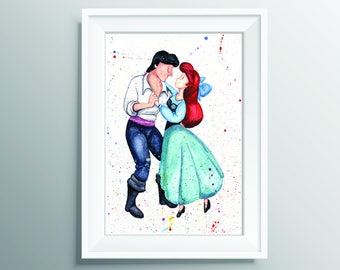 Ariel and Eric, Disney Little Mermaid Watercolour print