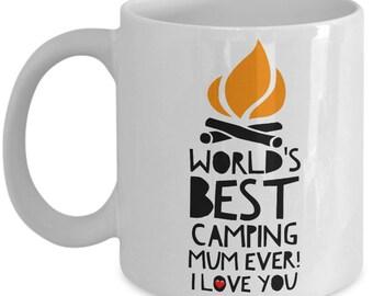 World's Best CAMPING MUM! White Coffee Mug, Camping Mum's Gift, Camping Mum's keepsake, Camping Mum's present.