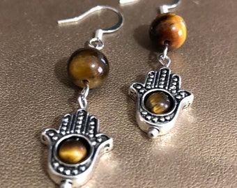 Tiger's Eye with Hamas hand Earrings