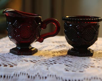 Mint Avon Ruby Red Cape Creamer and Sugar Bowl