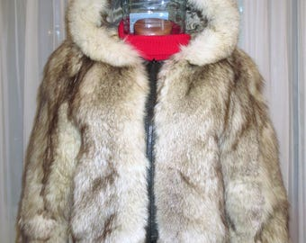 Fur coat with a hood from Arctic Fox. size S. natural color. natural fur.