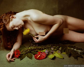 Flowers and Green (Mature) - Fine art color photography print, female nude with flowers on a green backdrop