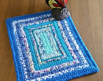 Shades of Blue Rug Blue Crochet Rug Blue Rag Rug Crochet Turquoise Rug Aqua Rug Turquoise Rag Rug Aqua Rag Rug