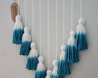 Dip-dyed Tassel Wall Hanging, Teal, Turquoise, Ombre, Driftwood, Wall Decor, Macrame
