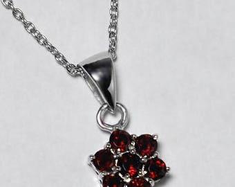 Womens Garnet Gemstone Cluster Flower Pendant Necklace 925 Sterling Silver 18 inch