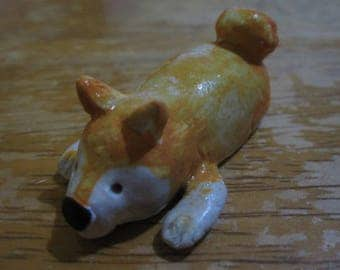 Made to order Very Cute clay shiba dog figure