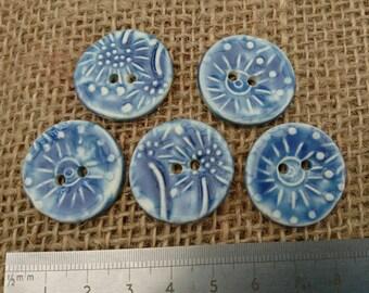 Set of Five Handmade Blue Ceramic Buttons/Craft Buttons/Bespoke Buttons /Crochet/Knitting/Scrapbooking/Sewing/Fashion/Haberdashery/Textured.