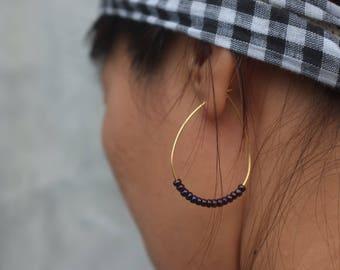 Hoops Earrings Gold Hoops Handmade,classic hoop earrings embelish with Japanese beads Large Hoop Earrings,Thin Hoops Jewelry Gift Birthday