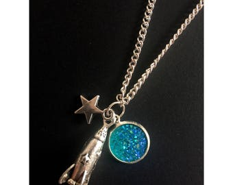 Space galaxy handmade rocket necklace with star