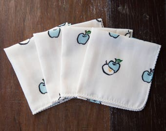 Organic Baby Washcloth - Apple Blue