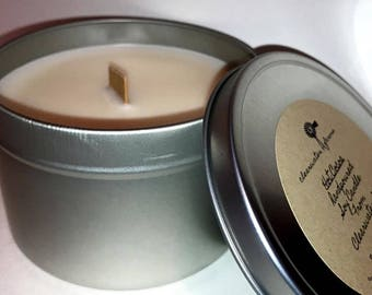 Soy candle/100% soy/handmade/hanpoured/ Tin/wood wick
