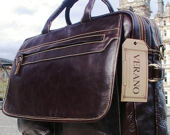 Genuine Italian Leather Briefcase Shoulder Travel Flight Office Work Bag Mens Birthday Gift Mocha Dark Brown Real Verano Luxury
