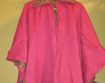 Pink and paisley cape/poncho home-made