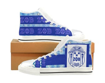 Zeta Phi Beta Classic Canvas High Top / Low Top Sneakers (shoe runs large, view size chart)
