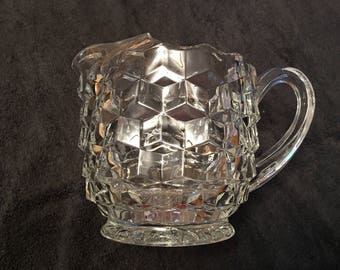 Vintage Clear Cubist Glass Water Pitcher w/Ice Guard 32 oz