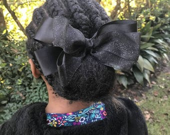 6 1/4 inch Black and Sheer Glitter Stacked Pinwheel Hair Bow
