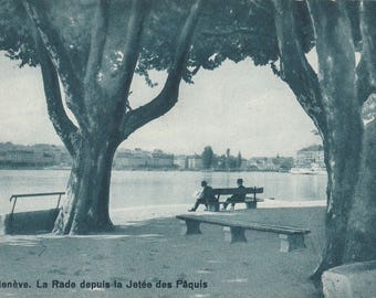 Paquis Jetty, Geneve ~  Real Photograph ~ Vintage Postcard ~ Unused