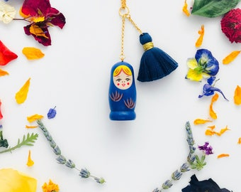 Matryoshka Charm/Tassel Necklace in Blue