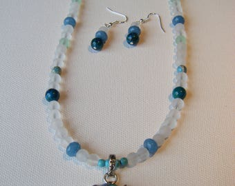 Rainbow calsilica necklace and earring set #77