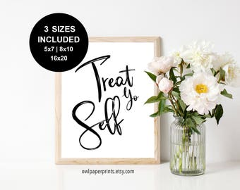 Treat Yo Self Sign - Printable PDF, Printables, Signs, Dessert, Treats, Sweets, Candy, Wedding, Event, Party, Shower