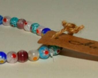 Colourful glass bead bracelet