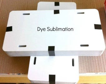 "20pcs. 026 6""x12"" Dye White Sublimation Aluminum License Plates/Car Tags, PVC masked."
