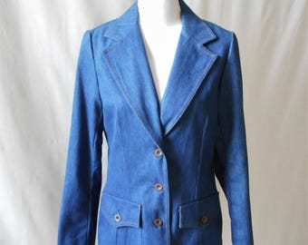 Vintage Retro 1970s Koret City Blues Denim Jacket Blazer, 1970s Denim, 1970s Jacket, Vintage Blazer, Vintage Denim, Koret, Vintage Women's