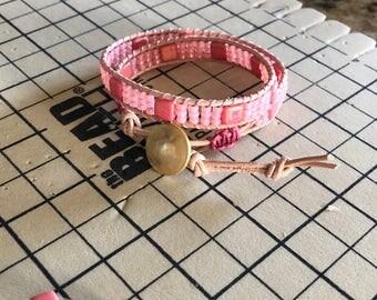Leather Wrap Boho Seed Bead Doublewrap Bracelet