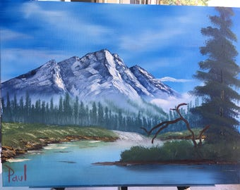Bob ross style oil painting