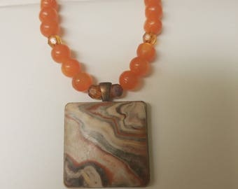 Beaded Polymer Clay Pendant