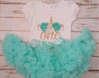 Aqua and Gold Unicorn 1st or 2nd Birthday 3d Shirt and Pettiskirt Birthday Outfit