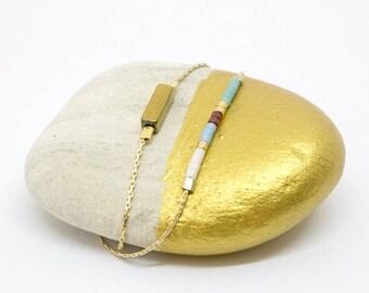 Ylios Turquoise bracelet - Bracelet MultiRow gold - original gift idea