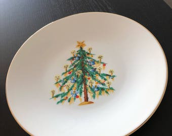 Hutschenreuther Christmas Tree Dinner Plate Gold Rim 10.5 Inches