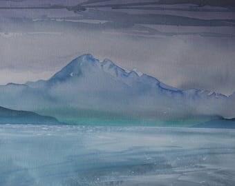 Mt. Baker, watercolour on rag paper , 15 x 22 inches , original, landscape
