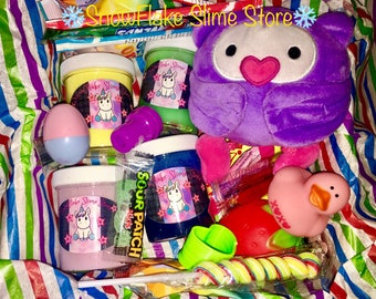 Mystery Slime Box 4 unique Slimes with Plushy, Squishy and more!