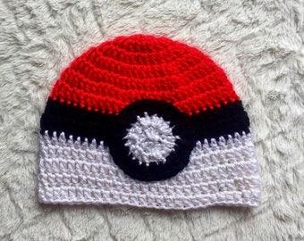Pokeball Crochet Hat