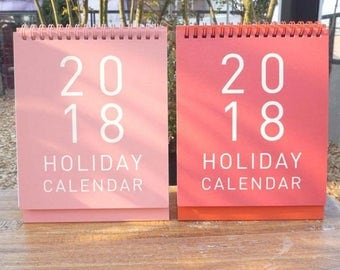 2018 Holiday Calendar / desk calender / lovely calender /  Scheduler / Ring Binding Calendar / pink calender / pink holic