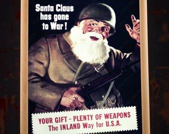 WW2 Christmas Santa Propaganda Poster, american propaganda, war propaganda, second world war, wwii poster, ww2 print, us propaganda prints