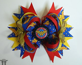 Wonder Woman Super Hero Heroine Comic Inspired Boutique Stacked Hair Bow Clip