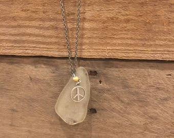 Peace Sea Glass Necklace
