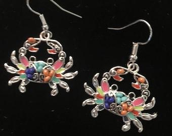 Sterling Silver Multi Color Beaded Crab Earrings