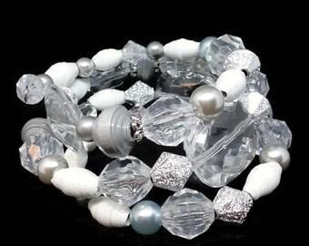 Sparkling Ice Paper Bead Memory Wire Bracelet