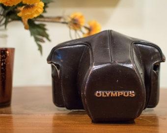 Brown Olympus Camera Case, Vintage Camera Case