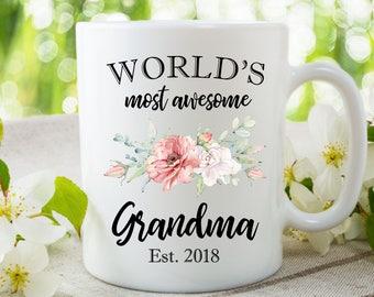 Grandma Coffee Mug, Gift for New Grandma, World's Most Awesome Grandma, Customized Grandma Coffee Mug, Grandma Tea Mug, Present for Grandma